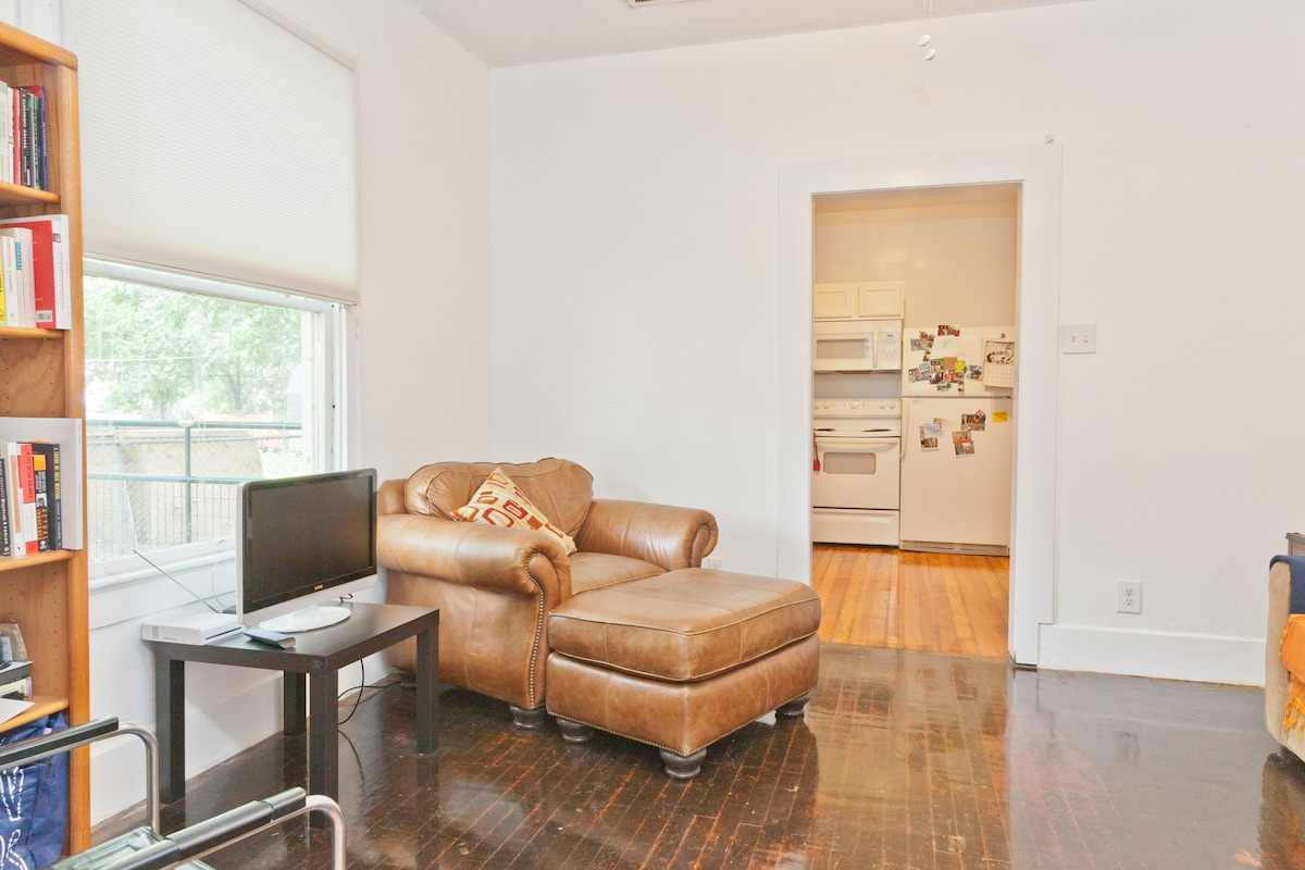 Comfy chair, small TV/ DVD player, reading materials/DVDs
