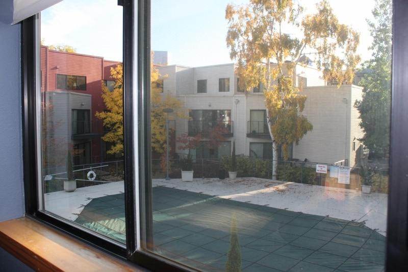This is the view from your bedroom into the courtyard. The swimming pool is open June - Sept.