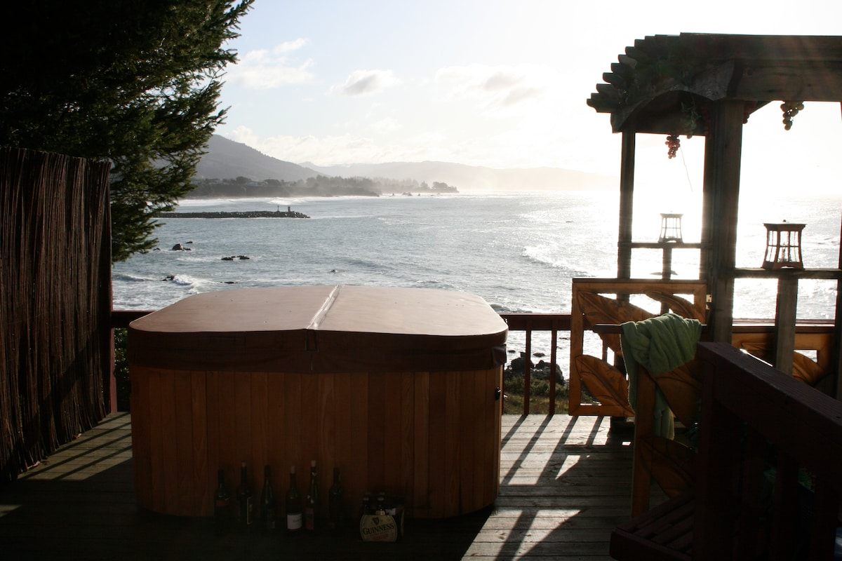 Hot tub beckons from just outside the guest bedroom.