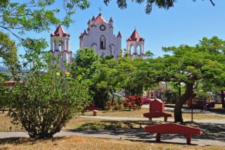 A view of the central park and local church in Santa Barbara.