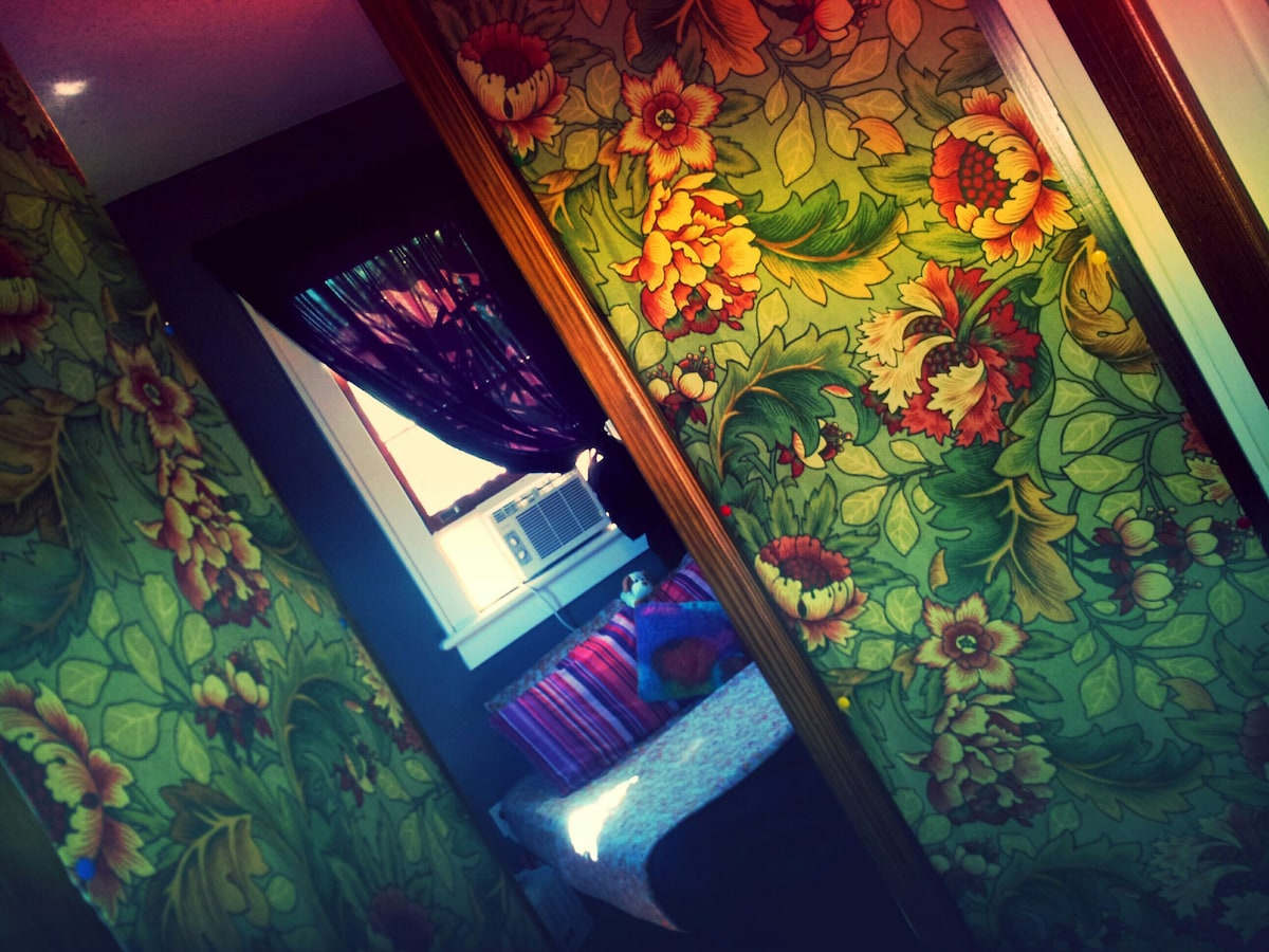 French doors open into your private room with an individual AC unit. (: