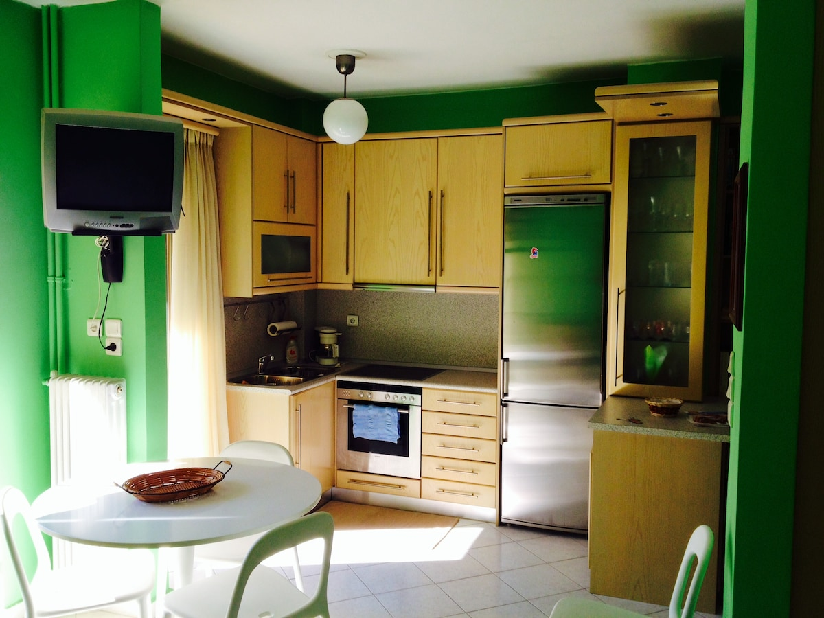 Brand new kitchen appliance (oven, refrigerator, washing machine), cozy little dining area and TV.