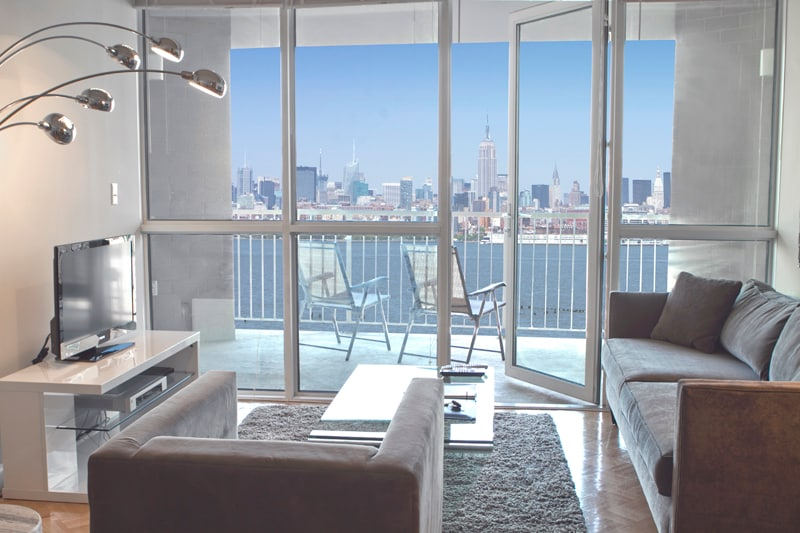 Luxurious Living Room with Private Balcony with Amazing New York City View