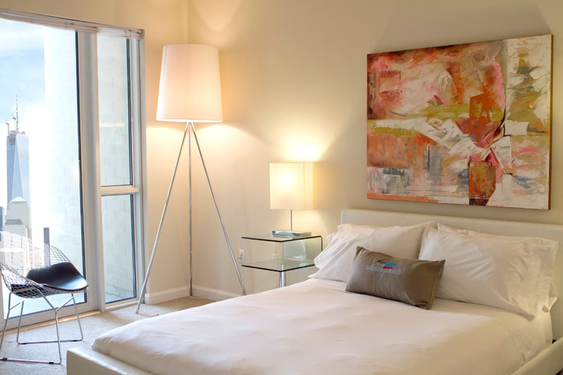 Master Bedroom with Queen Size bed and New York City View