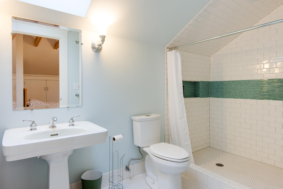 Private guest bathroom upstairs.