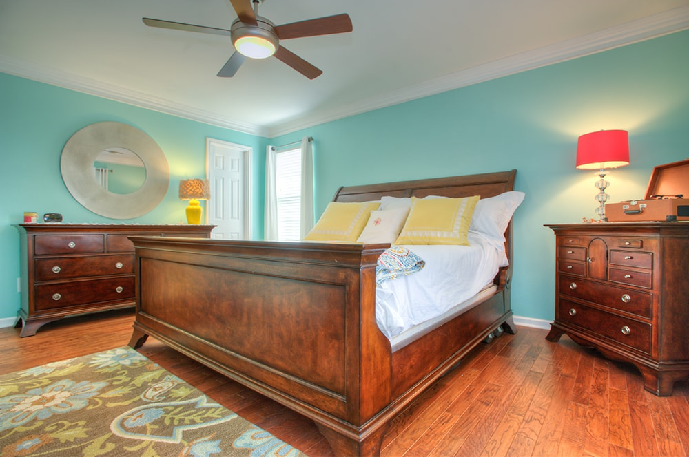 Master Bedroom with king size bed and attached bath