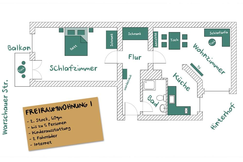 FREIRAUMWOHNUNG I: Grundriss / 2 Zimmer, Küche, Duschbad, Balkon / 60 qm / Aufzug
