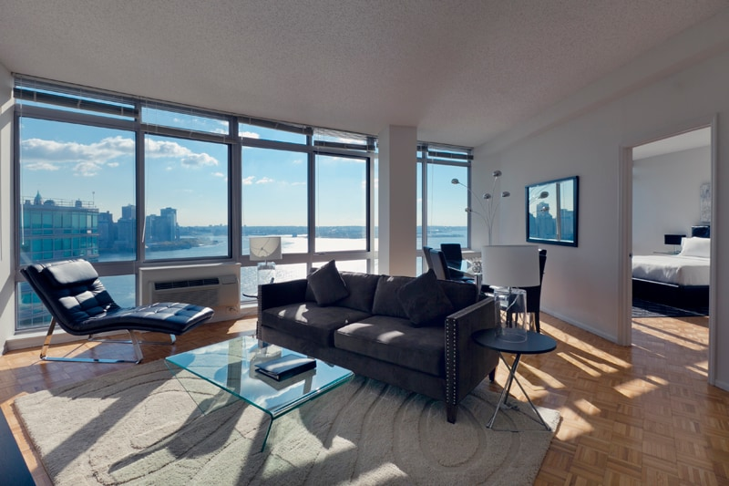 Spacious and Sunny Living Room with Stunning Manhattan Views