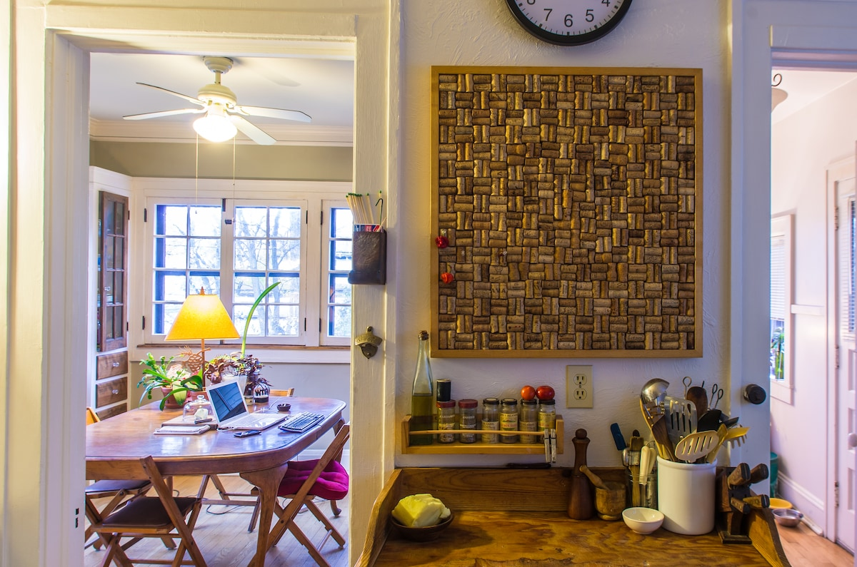 Kitchen, cutting board, peek through to breakfast room.
