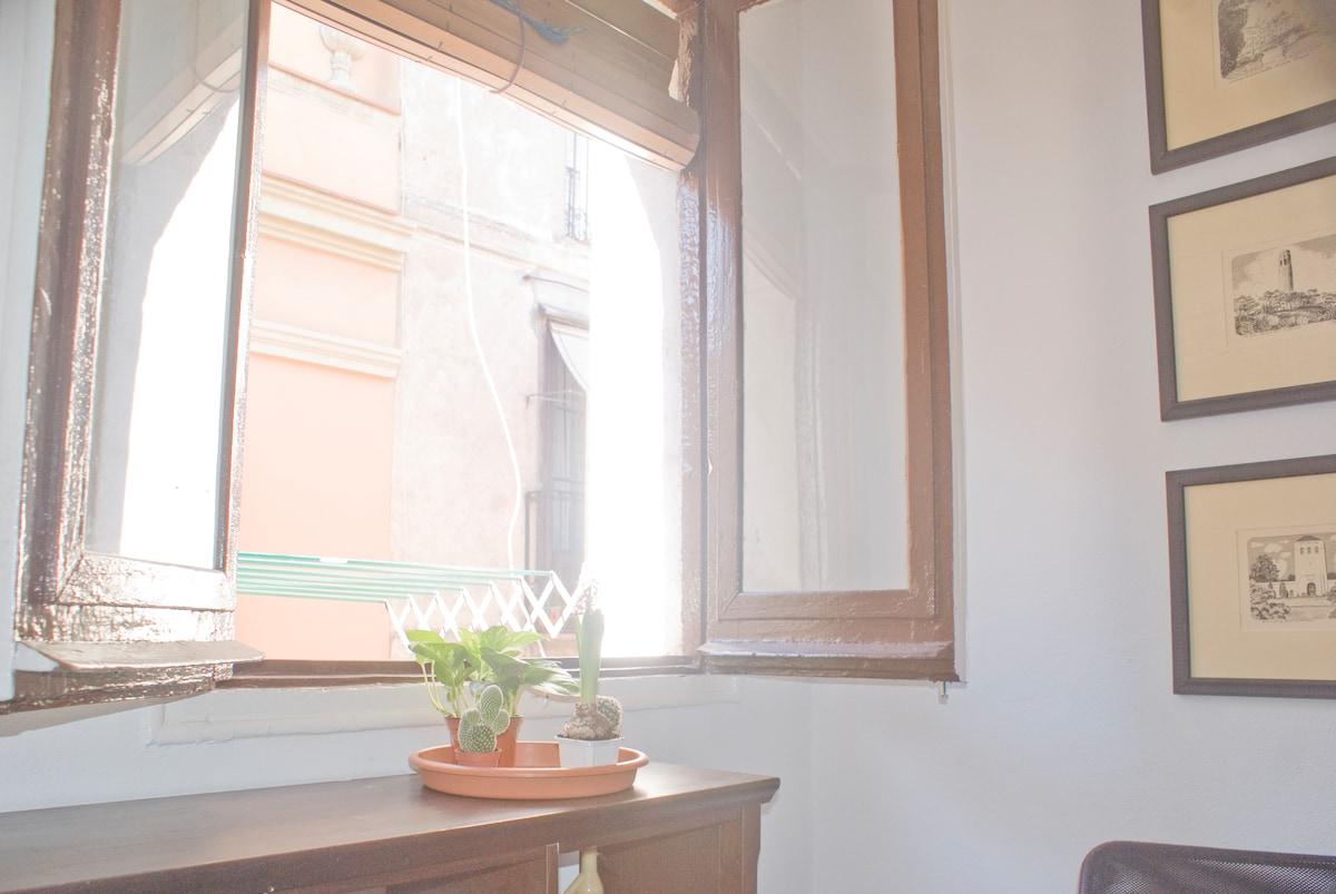 Window. Communal living room.