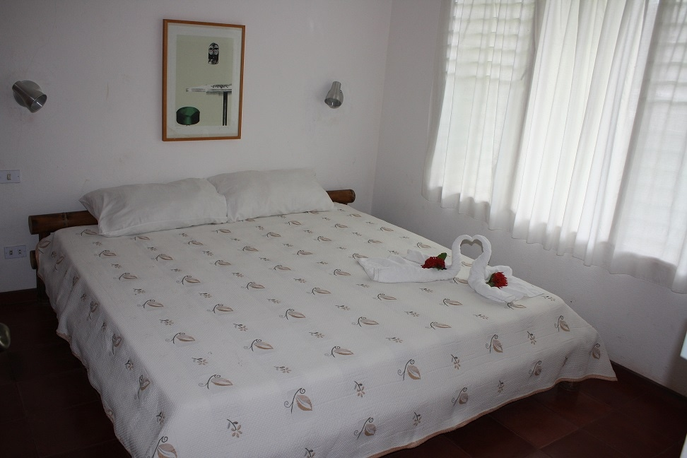 King bed in one of the Villas, olympic size.