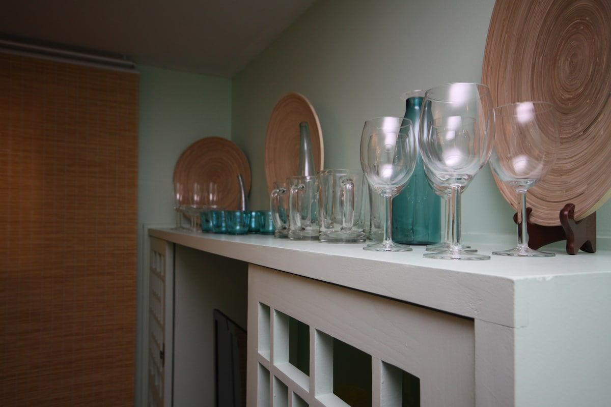 Wine glasses, beer mugs, champagne glasses, china...all for your use.