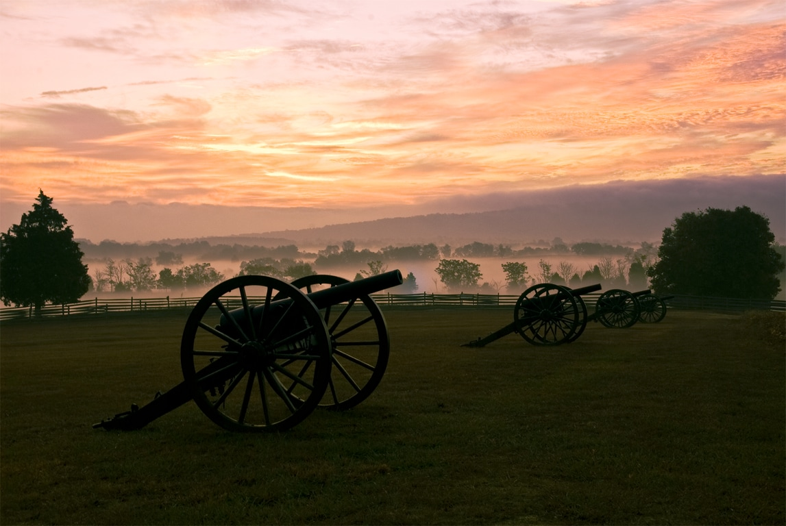 Beautiful National Antietam Battlefield at Dusk
