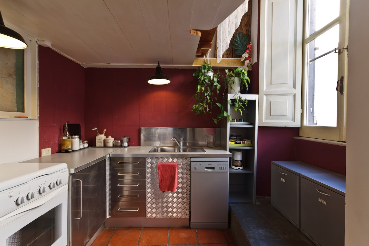 The kitchen area of the Loft