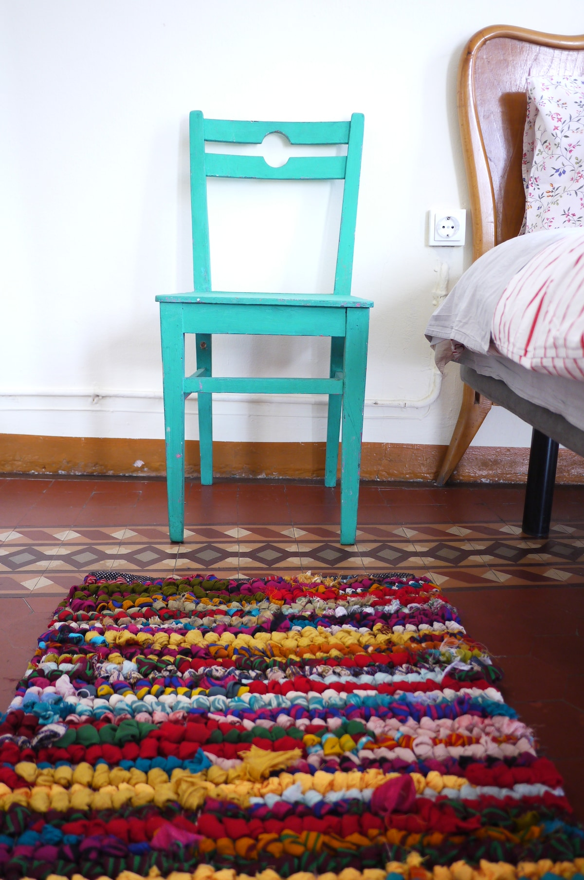 Vintage colorated chair and my favourite carpet