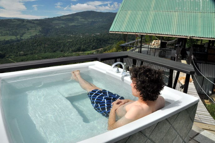 Fill the hot tub with fresh water for each use - hot or cool, as you prefer. No chlorine. Even better in the dark!