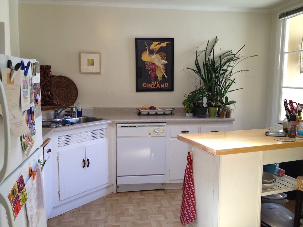 Kitchen has gas oven, dishwasher, good cookware,  convenient for cooking and preparing dishes