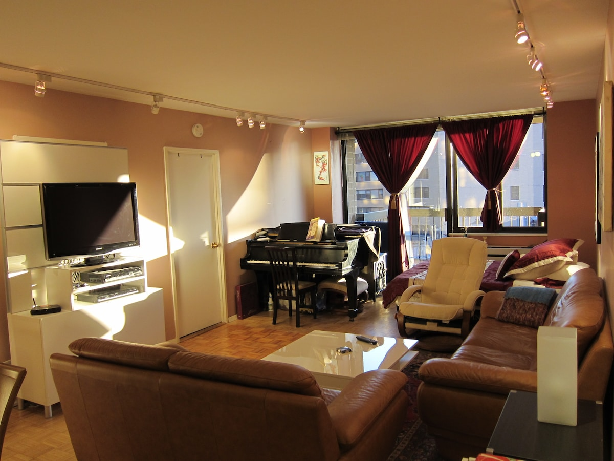 28 foot Living Room with Steinway Grand Piano - and a full size blow-up bed in the corner if you request it. Dining table seating 8 not shown in foreground.