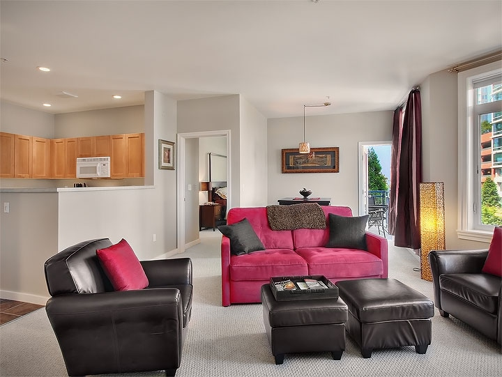 Living Room including Queen Sized Sleeper Sofa, Large Flat Screen TV, DVD, Cable and so much more!