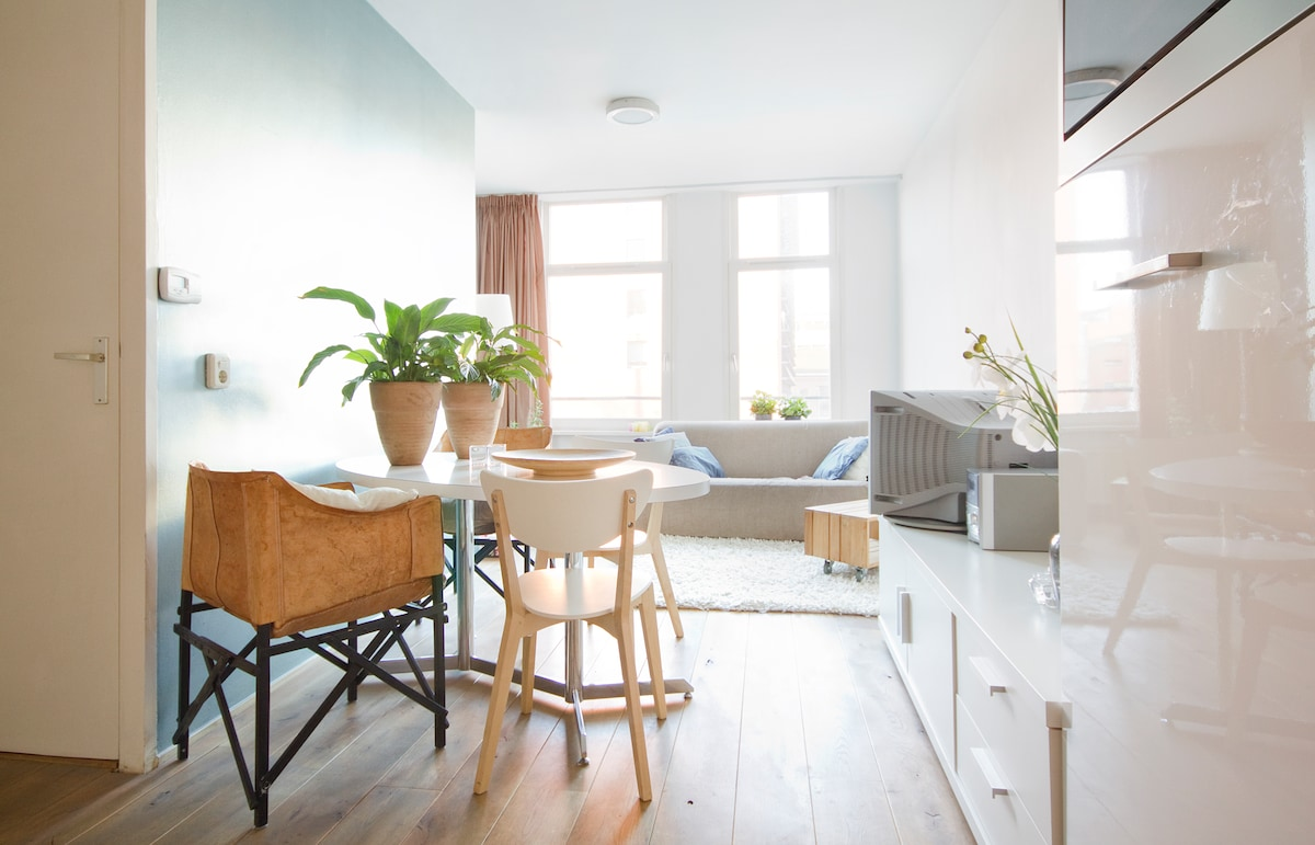 an oakwooden floor through the whole  apartment. fresh colors.