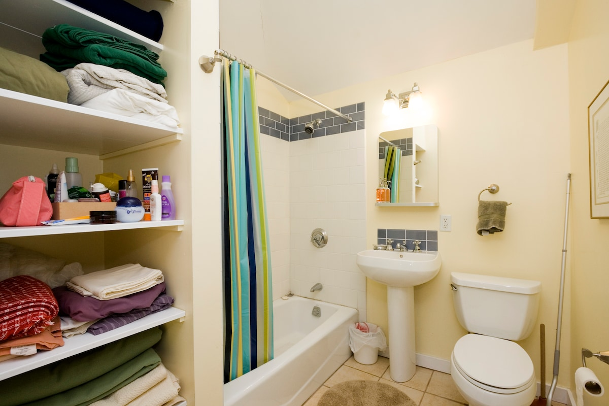 Bathroom includes supplies, sheets and towels