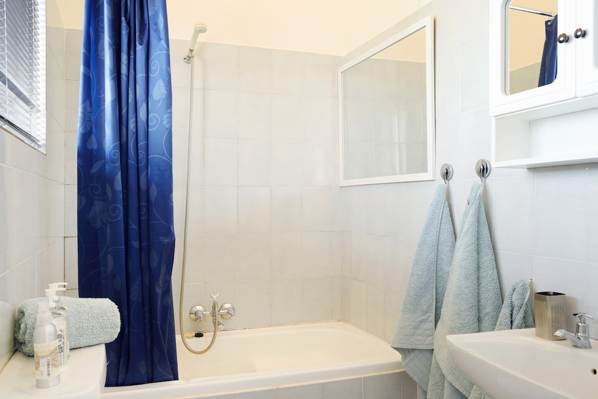 The bath with shower combo.