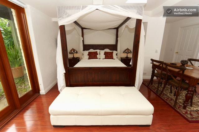 Romantic 4 Poster Bed with sheer white canopy
