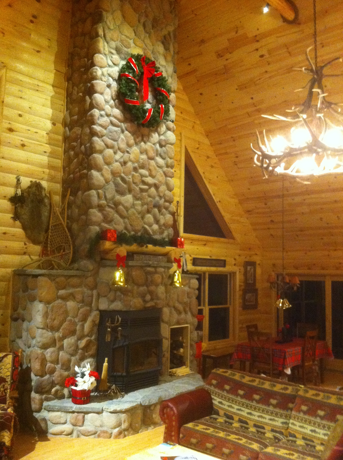 Great room with holiday decorations