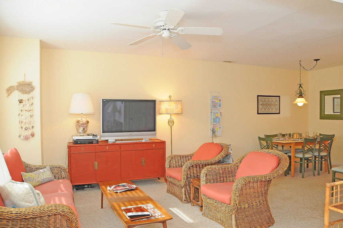 Living room space showing HD TV with DirecTV
