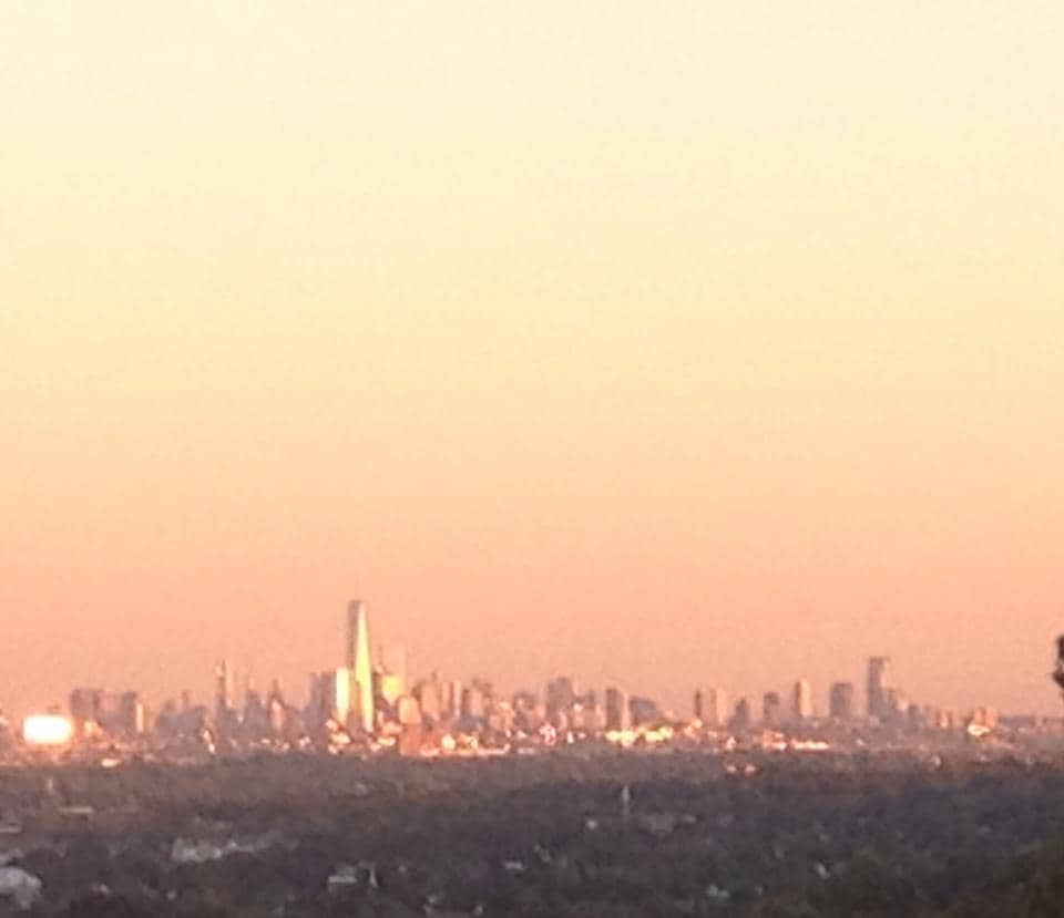 Sunset View of Skyline NYC from Deck.