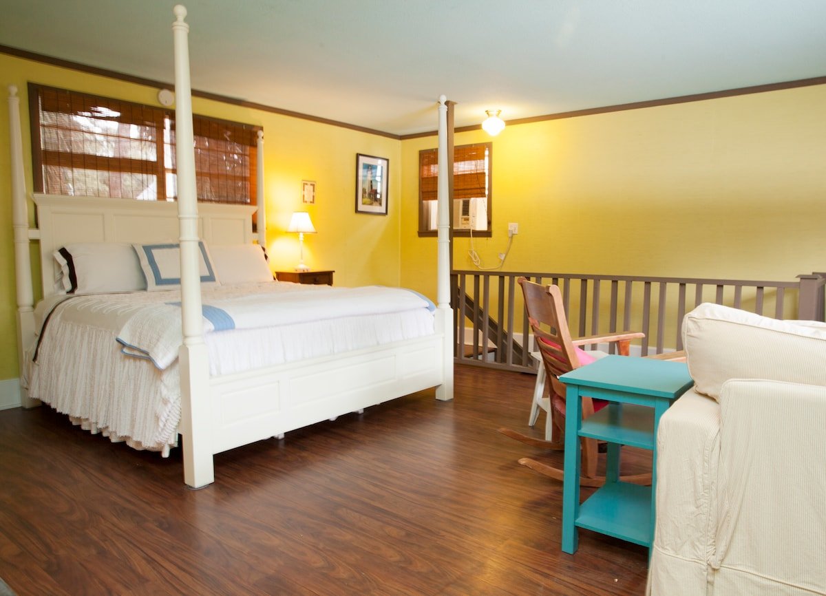 Your private upstairs suite with king bedroom, bath and kitchen and TV and livingroom with sleeper