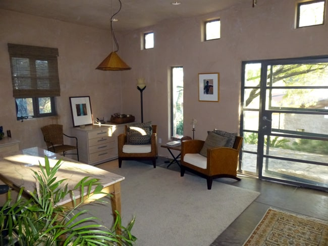 Relax in the living area and plan your adventures in the desert or arrange a rejuvenating massage from one of many talented body workers in Tucson we can refer.  They will come to the guest house so you can really relax afterward.