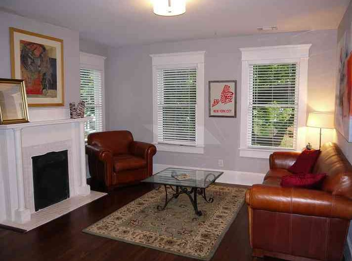 Living room off galley kitchen