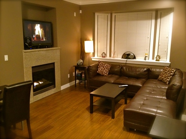Warm and cozy shared living room w/ fireplace, HD cable TV.