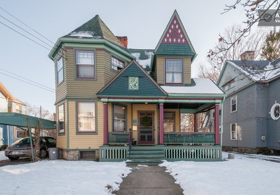 The Queen Anne B&B in the wintertime.  You are welcome to park your car under the carport.