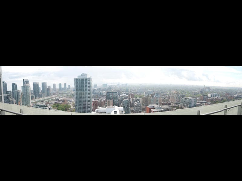 City view from the 32nd floor 100 sq ft balcony