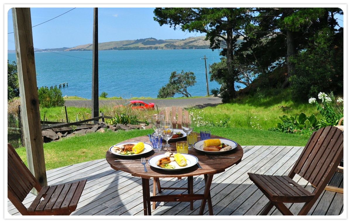 Waterfront bach with stunning views