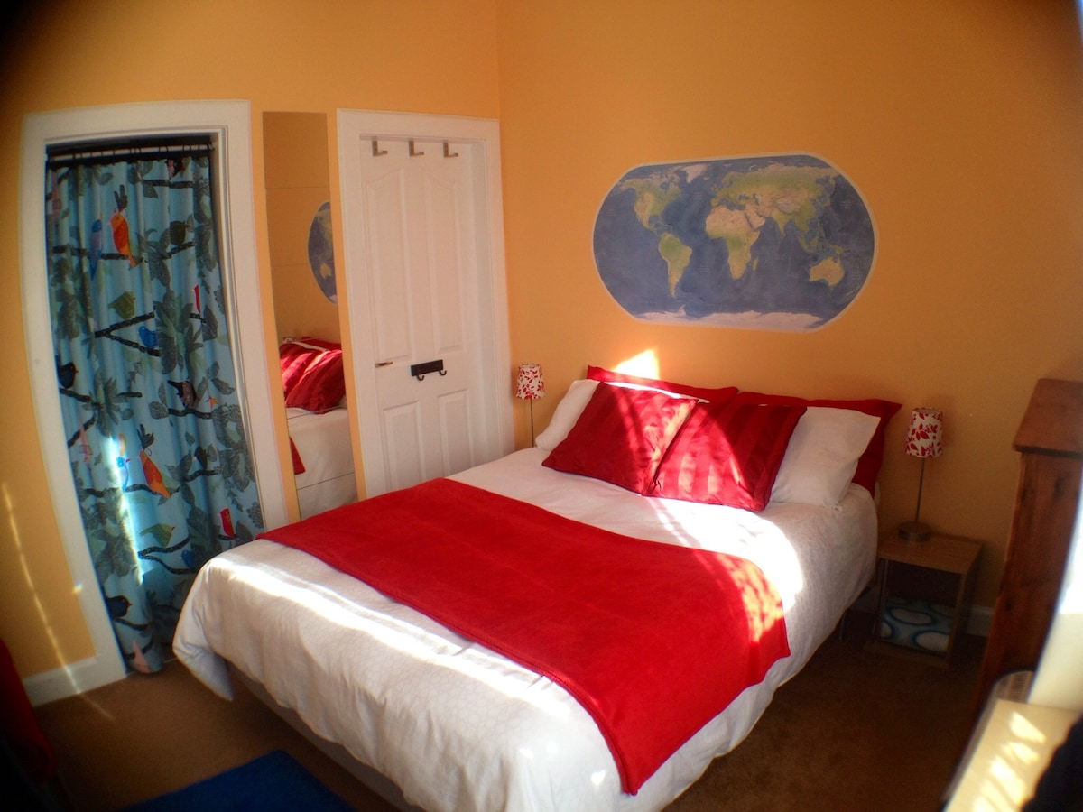 Fresh, clean paintwork and comfy double bed.