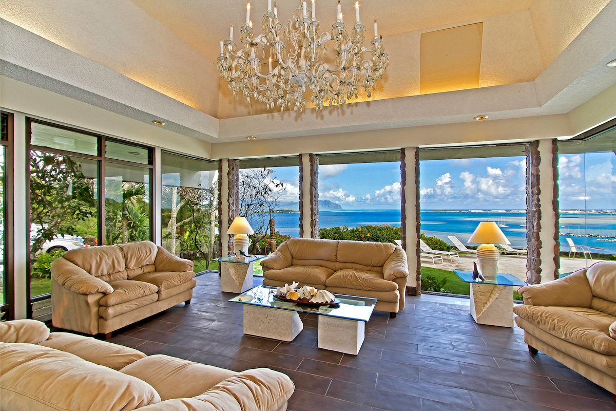 Living room has ocean views from everywhere