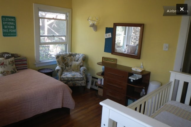 Yellow bedroom (12x13'), with queen bed (& crib).