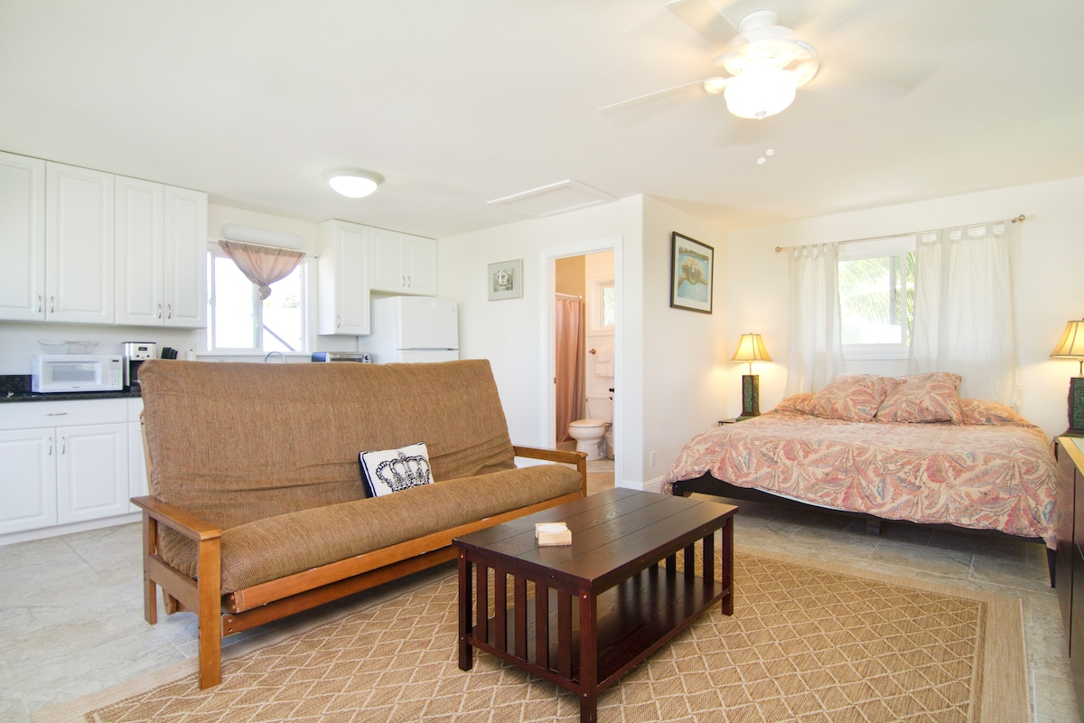 King size bed with Queen futon couch that can comfortably sleep 2 more.