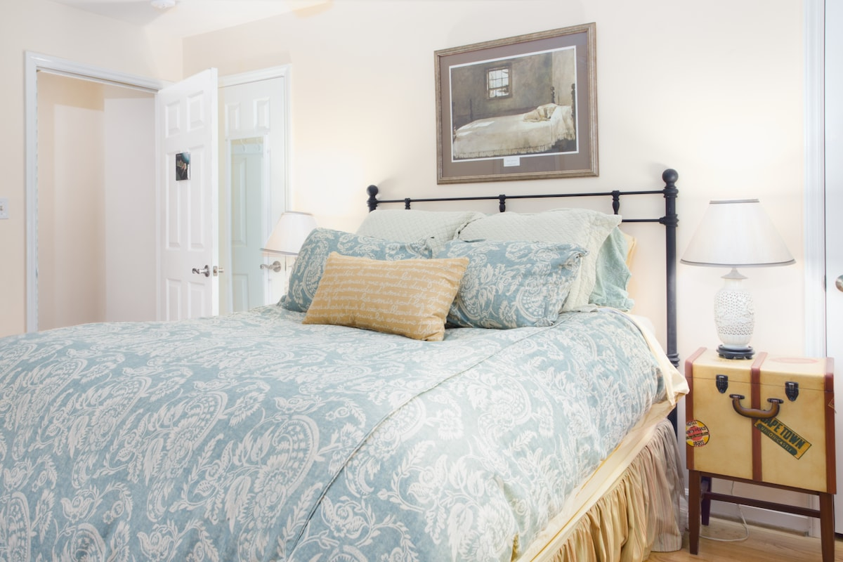 The Tree Frog bedroom is also on the 2nd floor and offers a queen sized, Tempurpedic mattress topper with a ceiling fan, wifi and cable TV.  Ironing board and iron are also included.
