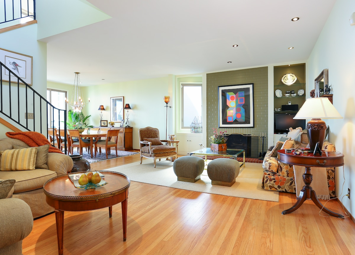 Three floors of space with a designer's touch in this Potrero Hill home.