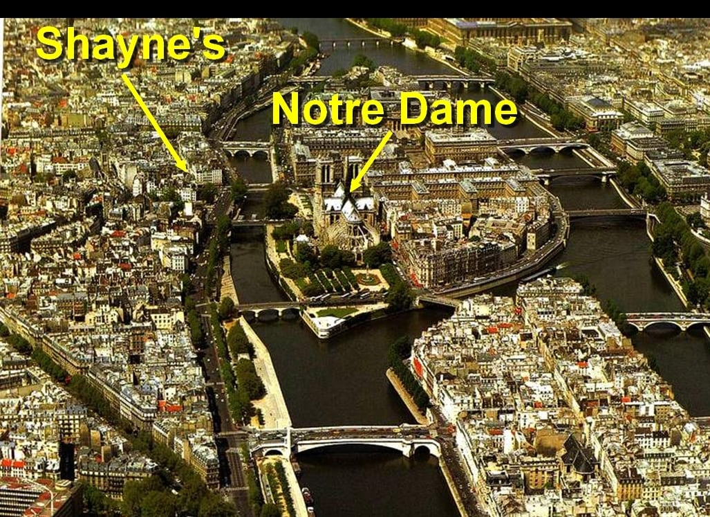 Awaken to the sound of the bells of Notre Dame. Shayne's Garret for 1 is the only B&B  on earth where you can awaken to the sounds of the bells of Notre Dame.