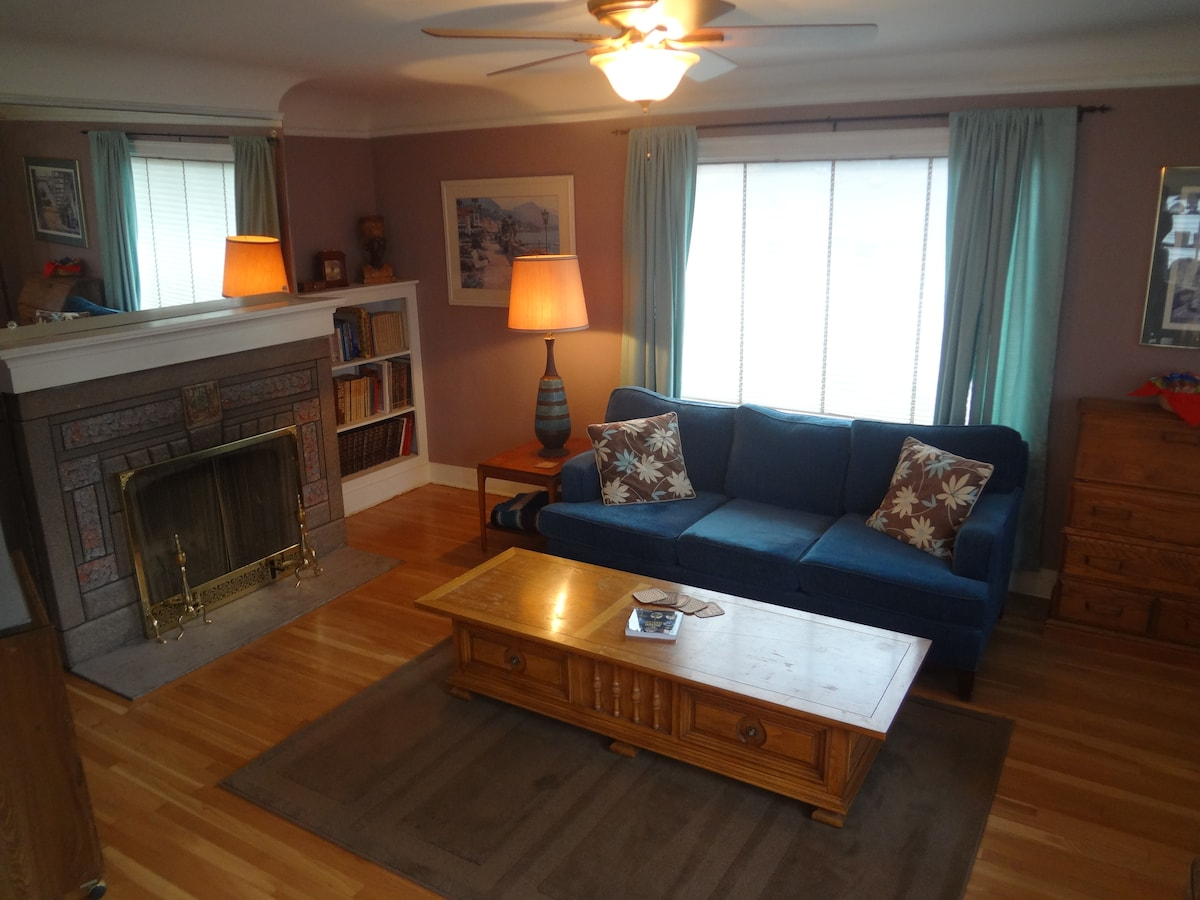 Luna Park Lower's spacious living room with cozy fireplace.