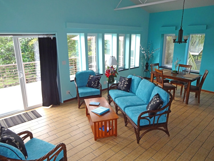 Living / Dining room with window all to garden; SAT TV & entertainment center
