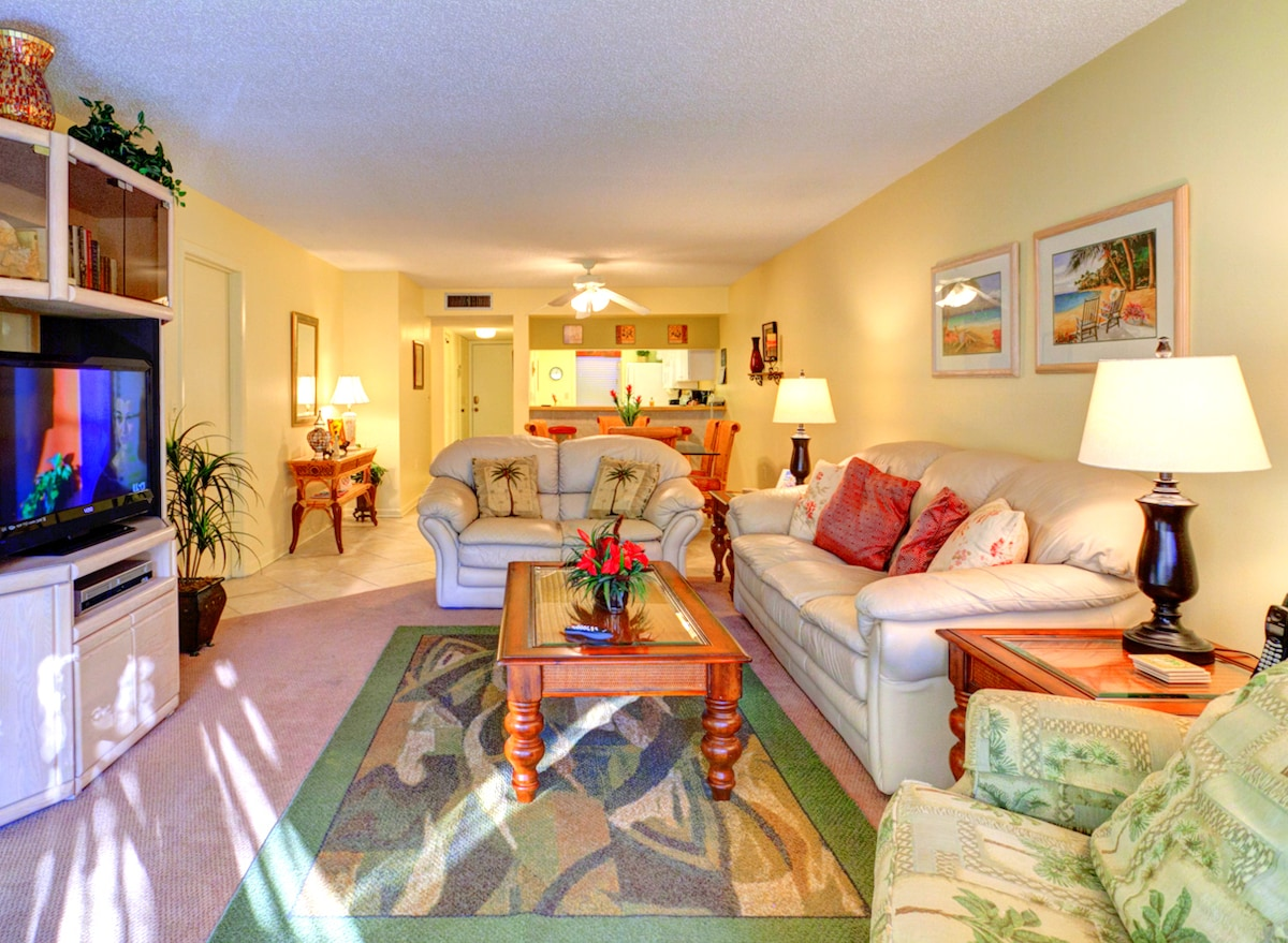 You'll love unwinding at Siesta Dunes Beach 104. Our beautiful, comfortable living room opens out onto our enclosed lanai and outdoor deck. Siesta Dunes Beach 104 is a ground-floor condo with wonderful amenities and is just a short walk away from Siesta K