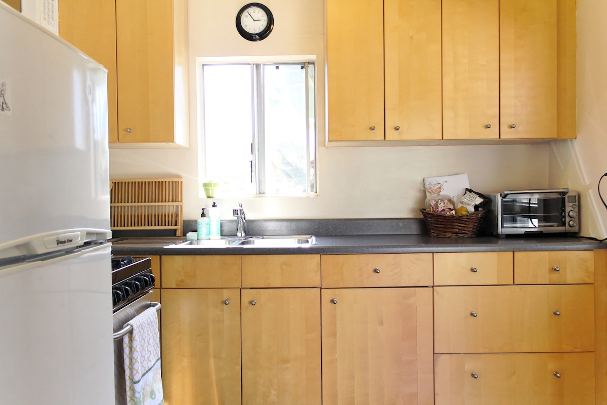 A welcome basket awaits in our fully equipped kitchen with Smart Oven, Coffee Maker and more.