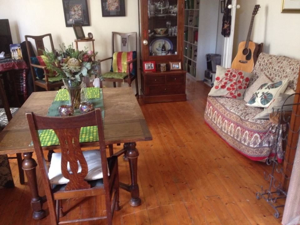 Eclectic cottage living room - preloved and items gathered from a life time of travels.