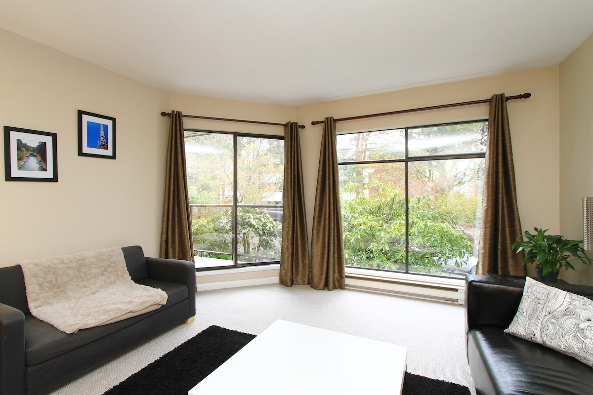 Relax in the bright and spacious main room with giant windows overlooking 'Dude Chilling Park'.